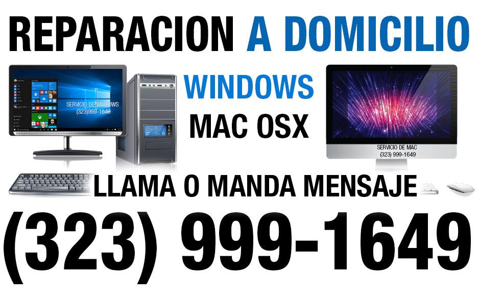 REPARCION DE COMPTUTADOAS A DOMICILIO (323) 999-1649